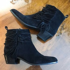 Black Suede Ankle Boots with Fringe Details